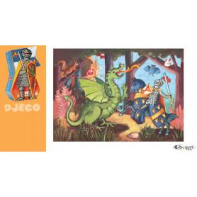 Puzzle silhouette Le chevalier au dragon