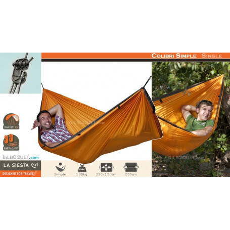 Single-voyage hamac Colibri Orange de la siesta Outdoor hamac