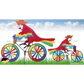 Eolienne de jardin Bicyclette perroquet