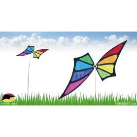 Eolienne décorative sur mât Papillon Arc-en-ciel