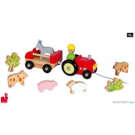 Tracteur Multi Animo' Jouet d'éveil en bois