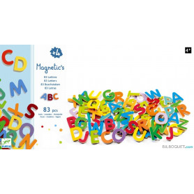 83 petites lettres magnétiques en bois - Magnetic's