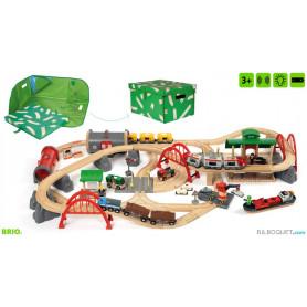 Circuit de chemin de fer Deluxe rail/route 87 pièces