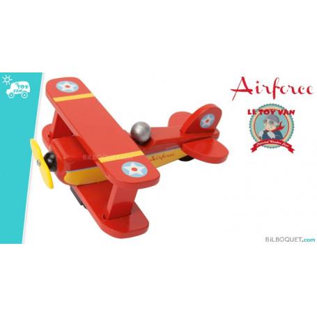 Avion biplan rouge Jouet en bois