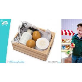 Cagette de produits laitiers et oeufs Jouets en bois