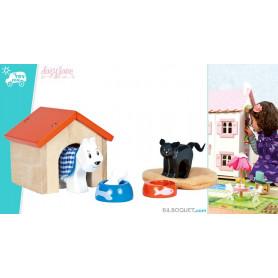 Animaux domestiques chien et chat pour maisons de poupées
