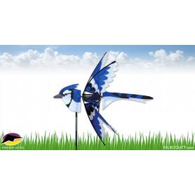 Eolienne décorative Oiseau Geai Bleu