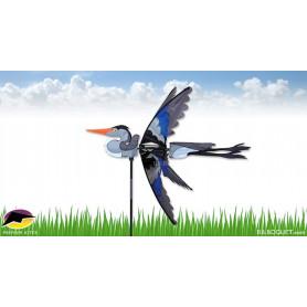 Eolienne oiseau Héron bleu