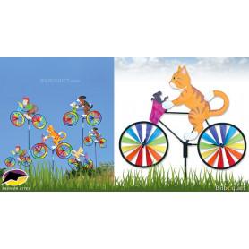 Eolienne de jardin Chaton Kitty à vélo 50x40cm