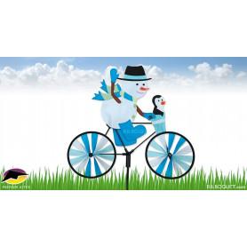Bonhomme de neige à bicyclette Eolienne de jardin