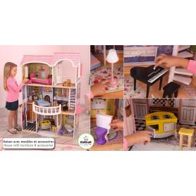 Maison de poupées Manoir Magnolia avec mobilier