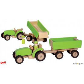 Tracteur en bois avec remorque basculante