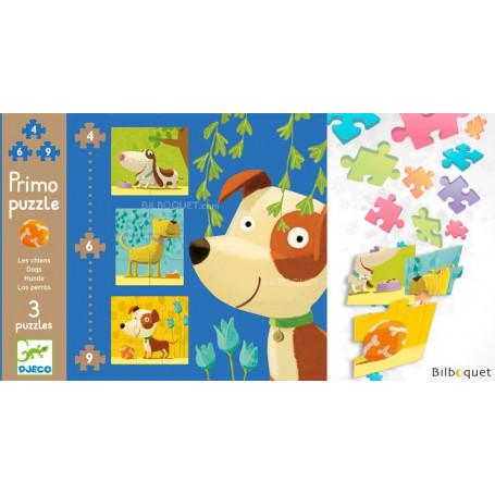 Primo puzzle les chiens - 3 Puzzles 4-6-9 pièces