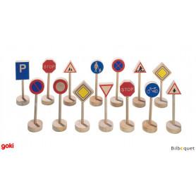 Pannneaux de signalisation (15 pièces en bois)