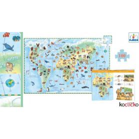 Puzzle 100 pièces Les animaux du monde + livret