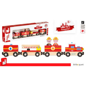 Story Train Pompiers Train en bois