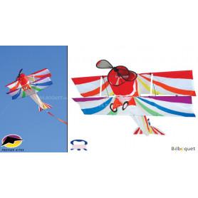 Cerf-volant monofil Avion Biplan Arc-en-ciel