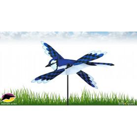 Éolienne d'extérieur WhirliGig Oiseau Geai Bleu 45cm