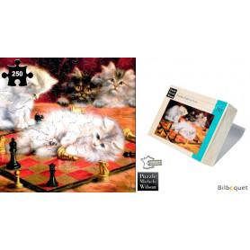 Les chats à l'échiquier - Agnes Talboys - Puzzle d'art en bois 250 pièces