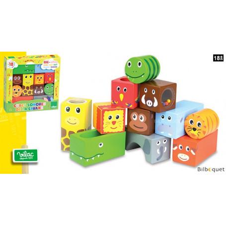 Cubes sonores de la savane - Jouets en bois