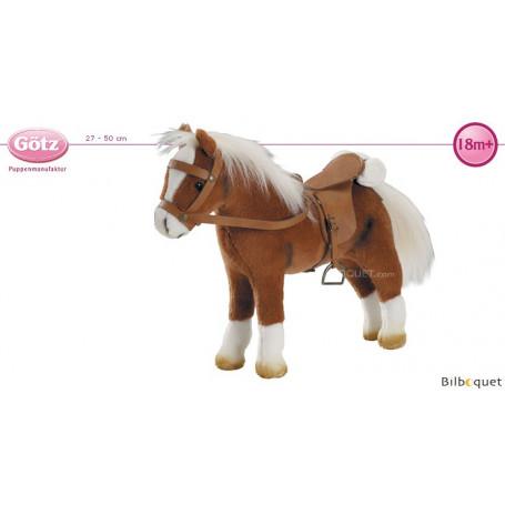 Cheval brun avec selle et filet - Peluche pour poupée