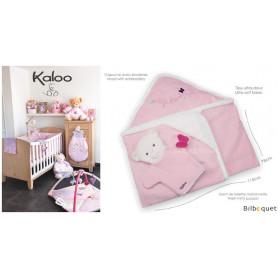 Sortie de bain bébé avec gant de toilette - Kaloo Petite Rose