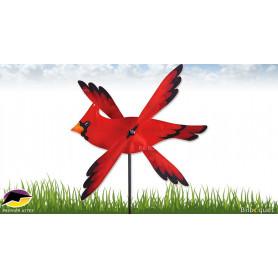 Éolienne d'extérieur WhirliGig Oiseau Cardinal Rouge 43cm