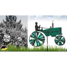 Éolienne Tracteur Vintage Vert 73cm - Déco d'extérieur