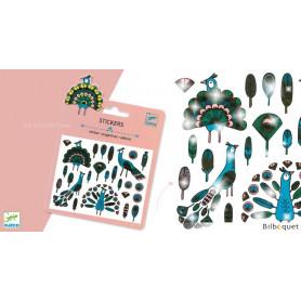 Mini pochette stickers - Plumes et Paons