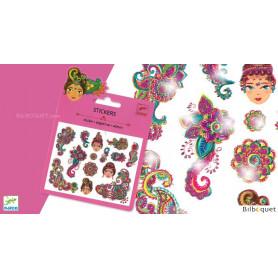 Mini pochette stickers - Motifs indiens