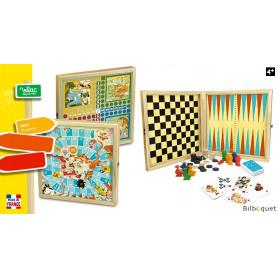 Coffret de jeux traditionnels - Oie/Dames/Petits chevaux/Backgammon/Cartes