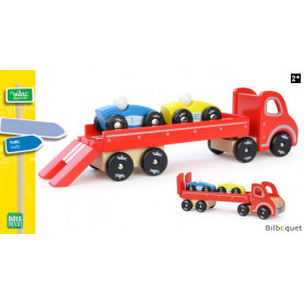 Semi-remorque + 2 voitures - Jouet d'éveil en bois