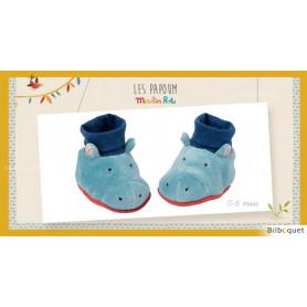Chaussons Hippopotame pour bébé 0-6 mois Les Papoum - Moulin Roty