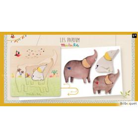 Puzzle encastrable Éléphants Les Papoum - Moulin Roty