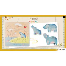 Puzzle encastrable Hippopotames Les Papoum - Moulin Roty