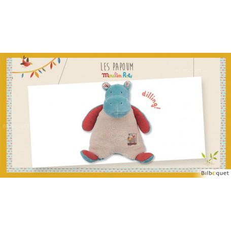 Doudou Hochet Hippopotame Les Papoum - Moulin Roty