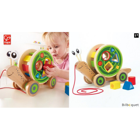 Escargot avec jeu de formes - Jouet à tirer en bois