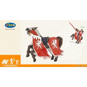 Cheval du Roi au dragon rouge - Figurine monde médiéval
