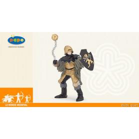 Officier à la masse d'arme noir et bronze - Figurine monde médiéval