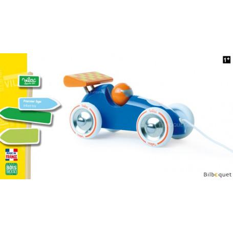 Voiture de course bleue et orange - Jouet à traîner en bois