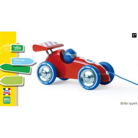 Voiture de course rouge et bleue - Jouet à traîner en bois