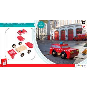 Kit Magnet SUV Pompiers - Voiture magnétique en bois