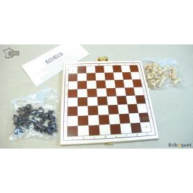 Echiquier pliant sérigraphié avec pièces d'échecs en bois