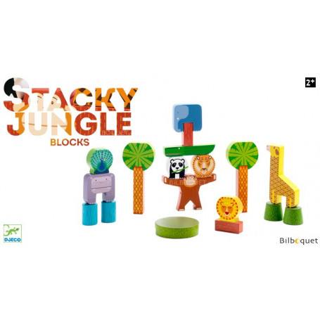 Stacky Jungle - 20 blocs de construction en bois